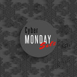 Cyber monday sale poster, winter offer advertising marketing banner, dark snowflakes flyer shop background Royalty Free Stock Photos