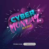 Cyber Monday Sale Promotion Banner Background with Promo Code Fi. Eld. Vector illustration stock illustration