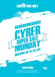 Cyber Monday Sale promotional poster with blue colored brush stroke background for commerce, business and advertising. Vector illustration Royalty Free Stock Photo