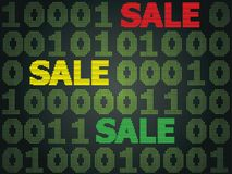 Cyber Monday Sale. Sale technology background for cyber monday with computer code Royalty Free Stock Images