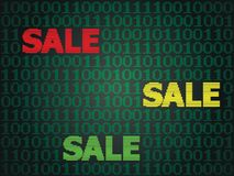 Cyber Monday Sale. Sale technology background for cyber monday with computer code Royalty Free Stock Photography