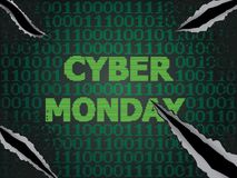 Cyber Monday Sale. Sale technology background for cyber monday with computer code Royalty Free Stock Photo