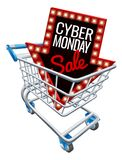 Cyber Monday Sale Shopping Trolley Sign. A Cyber Monday sale sign in a supermarket shopping cart trolley stock illustration