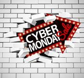 Cyber Monday Sale Sign Breaking Through Wall. A Cyber Monday sale sign breaking through a white brick wall Royalty Free Stock Photos
