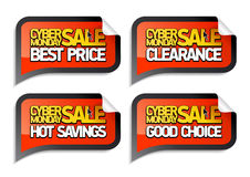 Cyber monday sale stickers. Royalty Free Stock Image