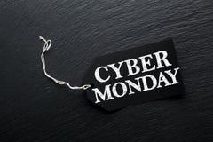 Cyber Monday Sale tag background. Cyber Monday Sale tag on dark slate background Stock Photo