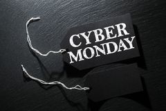 Cyber Monday Sale tag background. Cyber Monday Sale tag on dark slate background Royalty Free Stock Photo