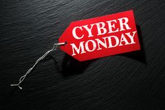 Cyber Monday Sale tag. On dark background Royalty Free Stock Photo