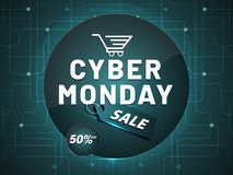 Cyber Monday Sale with tag and 50% discount offer on neural back. Ground, poster or banner design for advertisement concept royalty free illustration