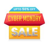 Cyber Monday Sale tag or label design with 50% discount offer on. White background royalty free illustration