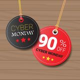 Cyber Monday Sale Tags Set On Wooden Textured Background Online Shopping Discount Round Icons Collection Stock Images