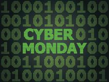 Cyber Monday Sale. Sale technology background for cyber monday with computer code Stock Image