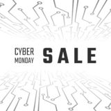 Cyber monday sale technology banner. Cyber Monday Promotion on Abstract circuit backgroun. Vector illustration.  vector illustration