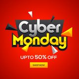 Cyber Monday Sale template design with 50% discount offer on glo. Ssy red background vector illustration