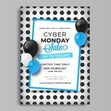 Cyber Monday Sale template with 75% discount offer and decorativ. E with balloons on polka dots background royalty free illustration