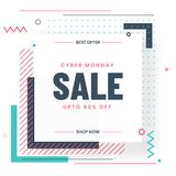 Cyber Monday Sale template or flyer design with 50% discount off. Er and abstract elements on white background royalty free illustration