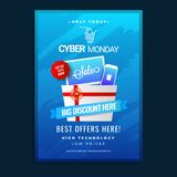 Cyber Monday sale template or flyer design with 65% discount off. Er on blue background vector illustration