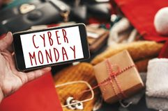 Cyber Monday sale text on phone screen, xmas sale sign. Special