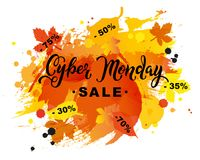 Cyber Monday Sale text on watercolor imitation background. Stock Photography