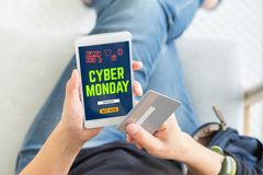 Cyber Monday sale using credit card to buy with promo code,Top v Stock Photo
