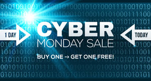 Cyber Monday Sale vector banner template.. Blue shining binary code background with arrows and sample text Royalty Free Stock Photo