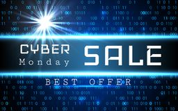 Cyber Monday Sale vector banner template. Blue shining binary code background with arrows and sample text.  Royalty Free Stock Images