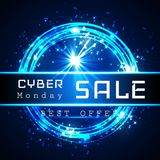 Cyber Monday Sale vector banner template. Blue shining binary code background with arrows and sample text.  Royalty Free Stock Photos