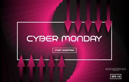Cyber Monday Sale vector techno style. Black and red abstract background with red arrows. Vector. Illustration royalty free illustration