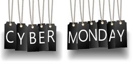 Cyber Monday sale web site display black hang tags. Stock Photo