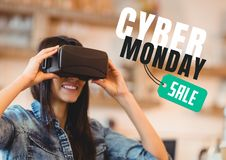 Cyber Monday Sale Woman using Augmented Reality royalty free stock photo