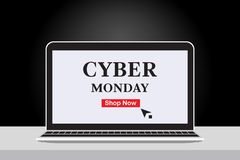 Cyber Monday Sales Banner with Notebook and black gradient background. vector illustration