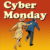 Cyber Monday shoppers run on sale Royalty Free Stock Photo