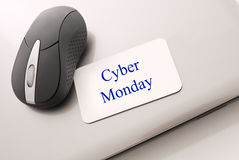 Cyber Monday Shopping. Online Sales Day Cyber Monday shown With Mouse On Closed Laptop stock photography
