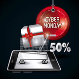 Cyber monday shopping design. Royalty Free Stock Photography