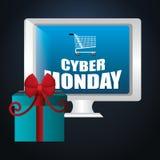Cyber Monday shopping season. Design, vector illustration Stock Images
