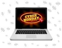 Cyber Monday sign on laptop screen. Vector internet shop sale background banner. Online sale discount vector illustration