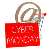 Cyber monday. An at sign in a shopping cart, and a the text cyber monday written in white in a red signboard, on a white background royalty free stock photography