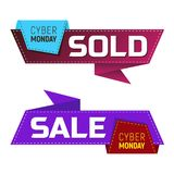 Cyber monday sold and sale banners or labels for marketing promotion. Vector illustration  on white background. Perfect to use for advertising design your web Royalty Free Stock Image