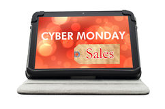 Cyber Monday Specials sale shopping sign. On black tablet device isolated on white background Stock Photo