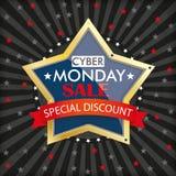 Cyber Monday Stripes Golden Star Royalty Free Stock Photos