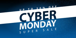 Cyber monday super sale poster. Clearance mega discount flyer template. Big special offer season. Vector digital shop banner illus. Tration Stock Photography