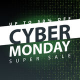Cyber monday super sale poster. Clearance mega discount flyer template. Big special offer season. Vector digital shop banner illus. Tration Royalty Free Stock Image