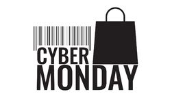 Cyber monday symbol with shopping bag and barcode. Sale concept. Vector illustration Stock Photography