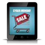 Cyber Monday tablet with shopping cart icon Stock Photography