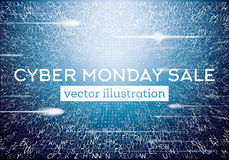 Cyber Monday Technological Background with Letters and Neon Ligh Stock Photos