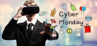 Cyber Monday text with businessman using a virtual reality. Headset Stock Images