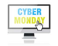 Cyber Monday - text on computer screen with pixel cursor Royalty Free Stock Photos