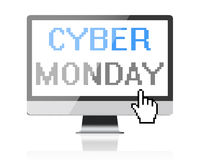 Cyber Monday - text on computer screen with pixel cursor Royalty Free Stock Images