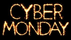 Cyber Monday Text Sparkler Glitter Sparks Firework Loop Animation