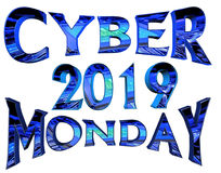 Cyber Monday 2019 text on white background. 3d rendering. Cyber Monday 2019 text on white background Stock Illustration